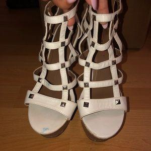 White studded heels